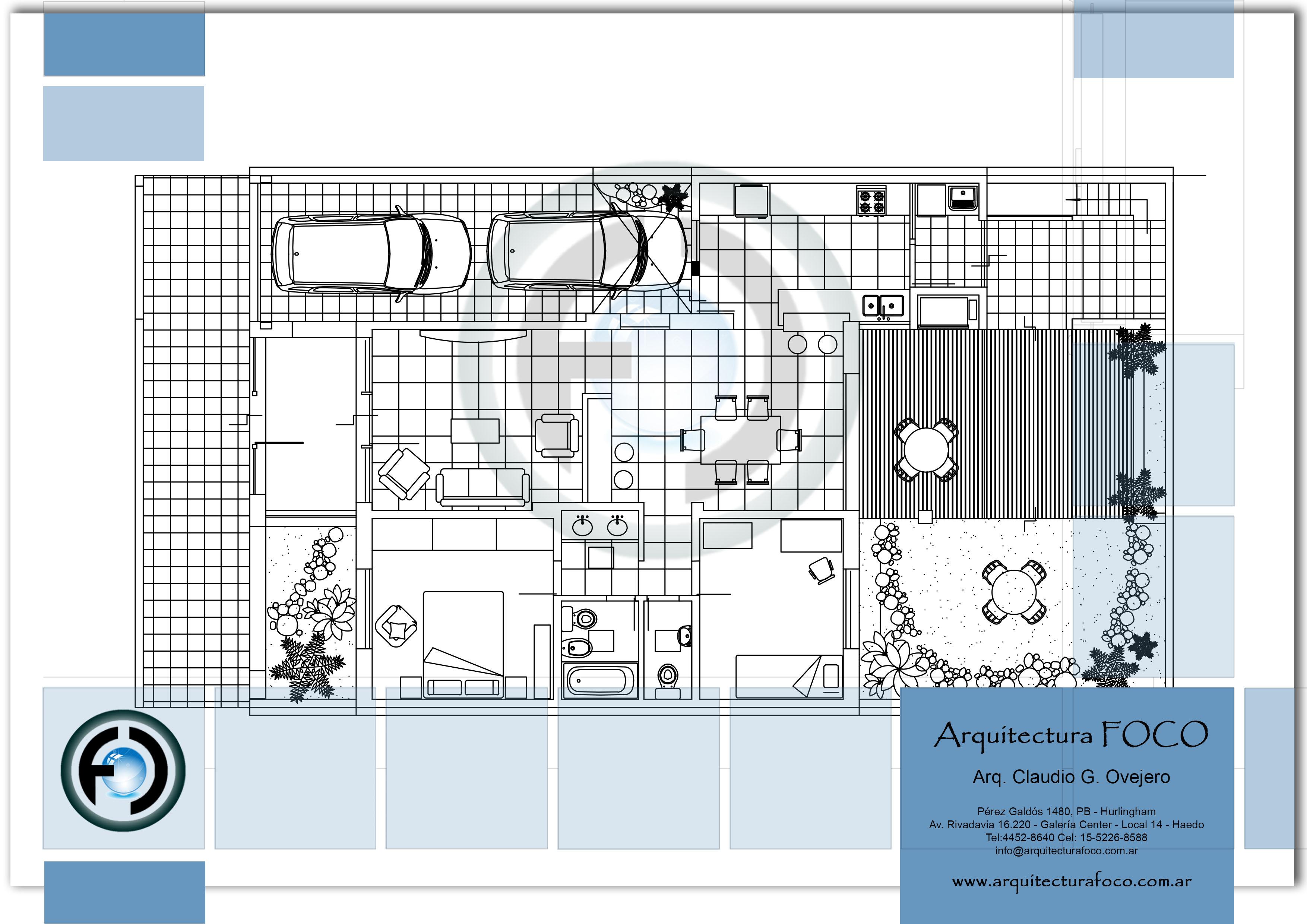 Planta de arquitectura de proyecto unifamiliar en Moron.