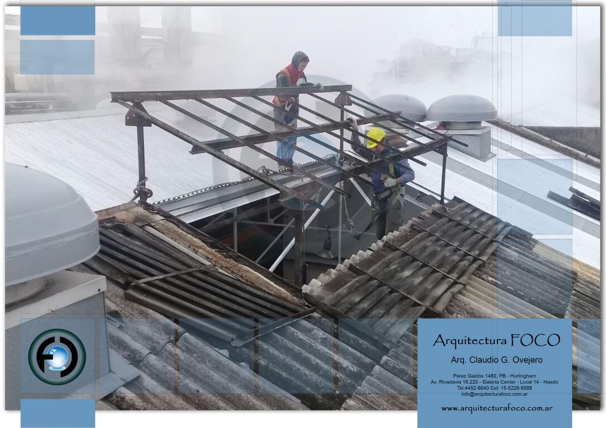 Reemplazo de techo de chapas de fibrocemento por zing, San Justo, Buenos Aires.