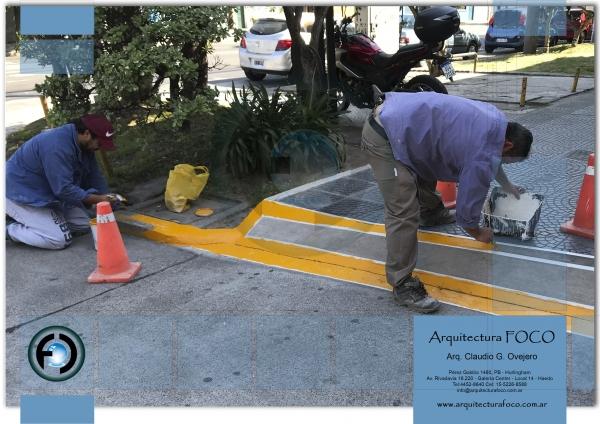 Demarcacion vial en San Justo, Buenos Aires